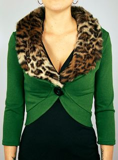 Pin-Up Style Green & Leopard Cardigan