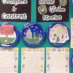 Snow globes made from plastic plates, construction paper, and plastic wrap!