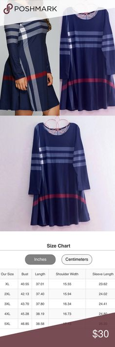 Navy Haymarket Striped Dress Size 3XL - Size Chart Available To Guide You Plus Size Dresses Long Sleeve