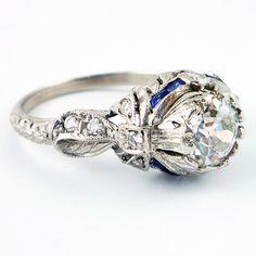 Antique Platinum Art Deco European Cut Diamond by laurenrosedesign, $3980.00