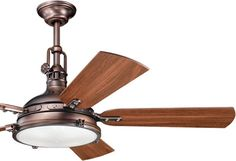 """Kichler 300018 56"""" Ceiling Fan from the Hatteras Bay Collection  Kichler's Hatteras Bay Collection is inspired by classic industrial lighting. Many have clear or layered clear and white glass Fresnel lens. These pendants, rail lights, wall brackets and ceiling fans coordinate with rustic, urban or coastal interiors.  300018 56"""" Hatteras Bay Fan  Retail Price: $561.60 Coastal Style Ceiling Fans - Brand Lighting Discount Lighting - Call Brand Lighting Sales 800-585-1285 to ask for your best…"""