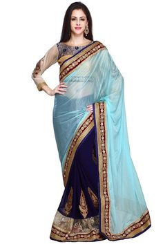 Artistic Navy Blue and Ice Blue Saree