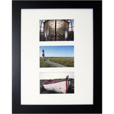 Better Homes & Gardens Museum Picture Frame, 12x16 inch matted to (3) 4x6 inch, Black