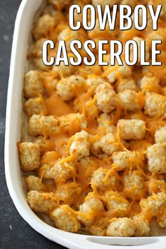 Cowboy Casserole (Tater Tot Casserole) & Six Sisters& Stuff Creamy corn and beef casserole mixed with crispy tator tots makes& The post Cowboy Casserole (Tater Tot Casserole) Tater Tots, Cowboy Casserole, Hamburger Casserole, Tator Tot Casserole Recipe, Tater Tot Hotdish, Tater Tot Breakfast Casserole, Breakfast Enchiladas, Chicken Casserole, Easy Casserole Recipes