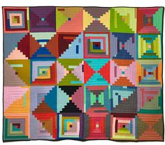 carrie strine quilt - geometric, colorful, pixilated, handmade
