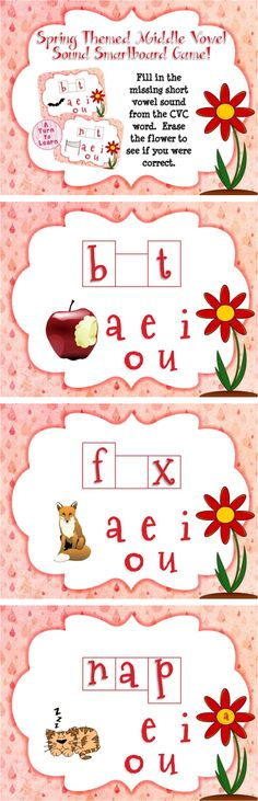 Spring Themed Middle Vowel Sounds Game for Smartboard or Promethean Board