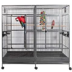 New Large Double Macaw / Parrot Bird Cage with Divider - Black Vein. Large double macaw / parrot cage with easy slide out divider. Great for introducing 2 birds. Available in 3 finishes: Black Vein, White Vein, or Pure White. Puppy Cage, Pet Cage, Parrot Toys, Parrot Bird, Large Parrot Cage, Parrot Cages, Large Bird Cages, Bird Cages For Sale, Cages For Birds