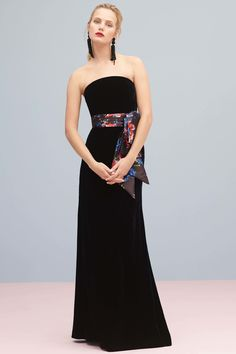 Black Strapless Evening Gown with a Multi-Color Satin Sash - Sachin