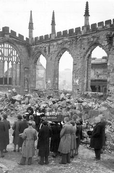Crowds gather for a service inside the ruins of Coventry Cathedral after it was destroyed by the German Luftwaffe in air raid over the city during the Second World War. November Get premium, high resolution news photos at Getty Images Coventry Blitz, Coventry England, Coventry Cathedral, Cathedral Architecture, Air Raid, Lest We Forget, World War Two, Destruction, Old Houses