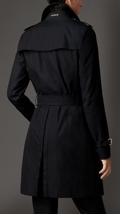 Navy Cotton Gabardine Trench Coat with Leather Trim - Image 2