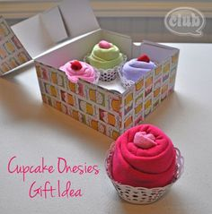 Cute idea: Cupcake onesies gift box for moms or moms-to-be