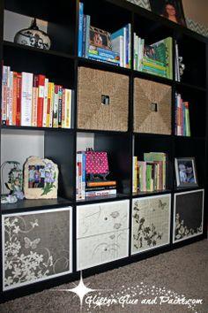 How to spice up an IKEA Expedit #IKEA #shelves  @glitterglueandpa...