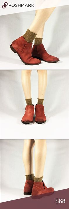 Free People Rust Orange Suede Booties -100% leather  -natural leather wear -small heel -Leather sole(some wear, see photo) -distressed style -rustic  red/Orange color -labeled size 39 Free People Shoes Ankle Boots & Booties