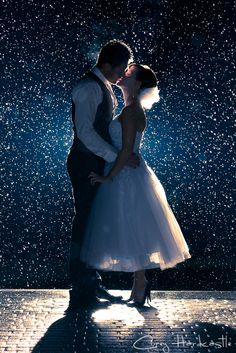 """Snow kisses... Put my dress and his tux on oncea season, and on or first year anniversary, send a thank you picture card saying """"thank you"""" and through the seasons"""