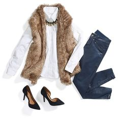 Go on with your glam self. Add a touch of drama to your white button-up with a faux-fur vest. #ontheprowl