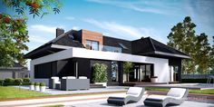 Modern house for lovers of elegance! Contemporary House Plans, Modern House Plans, Modern House Design, Style At Home, Single Storey House Plans, Mediterranean House Plans, Storey Homes, Large Homes, House Front