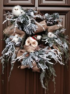 Owl Christmas Wreath Burlap Ribbon On Grapevine with Winter Pine Angels Nest