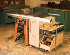 Tablesaw Storage Cabinet All of your tablesaw accessories close at hand By Eric Smith The last time I could find them all, I counted 18 accessories for my tablesaw. Dado set, push sticks, throat plates, extra blades, miter gauges, tenoning jig, wrenches, etc.—they're all essential and they were all over the place. The problem is finding a convenient, central place to put them that's out of the way yet accessible. …