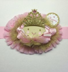 Mommy to be Sash corsage pink and gold ballerina mommy pin by fourDOLLYSboutique