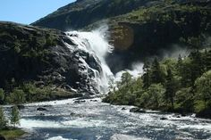 The four waterfalls of Husedalen valley and Hardangervidda National Park, Ullensvang, The trail through Husedalen valley is one of the most beautiful hikes in Norway. Four stunning waterfalls in succession on the way from Kinsarvik to Hardangervidda mo...