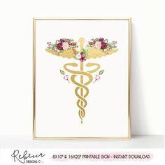 Medical art sign printable caduceus illustration doctor poster doctor print doctor gift doctor office decor med school graduation gift by RebeccaDesignsCo.