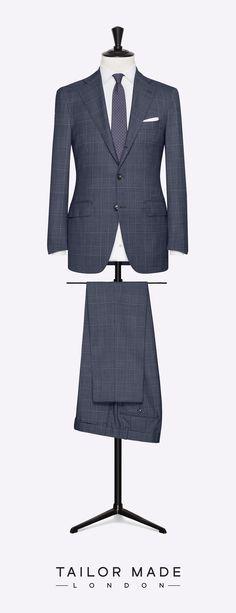 Tailor Made London 2-piece suit. Dark Grey glencheck.