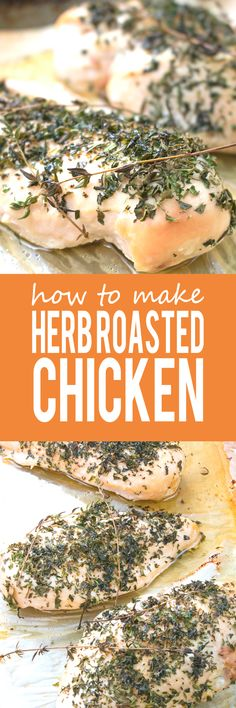 Herb Baked Chicken Breast - The most quick, easy and BEST way to roast chicken breasts - perfectly tender, packed with flavor and super healthy!! Great for salads, sandwiches, pastas etc!