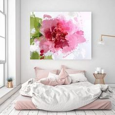 Sparkle bright. Floral Painting Pink Abstract Art Wall