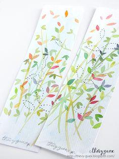 Petites pousses de printemps... Marque-pages feuillage peints à l'aquarelle, disponibles sur mes boutiques A Little Market et Dawand...
