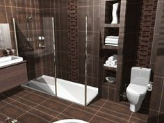Bathroom: The Beautiful Design Of Bathroom Design Ideas Tool With Dark Brown Color Of Ceramic Floor And Brown Ceramic Tile Wall With White Rectangle Bathtub With Shower Also Tempered Glasses, The Exciting Design Of Bathroom Redesigns With Best And Great S remodeling bathroom  #bathroom shower ideas  remodeling a bathroom