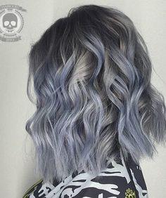 blue grey hair color
