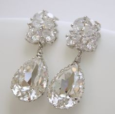 Wedding Earrings Bridal With Clear Swarovski Teardrop On Lux Cubic Zirconia Silver Posts 42 00