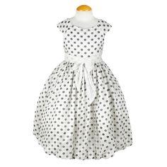 Ivory Splendid Polka Dot Chiffon Girls Dress