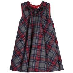 Dolce & Gabbana - Flared grey and red tartan dress - 91990 Girls Frock Design, Baby Dress Design, Baby Girl Dress Patterns, Kids Frocks Design, Kids Dress Wear, Kids Gown, Little Girl Dresses, Girls Dresses, Little Girl Fashion