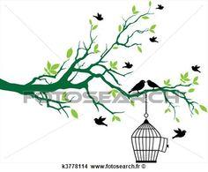 printemps, arbre, à, cage d'oiseaux, et, oiseaux Voir Clipart Grand Format