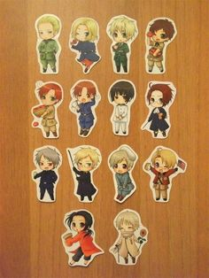 Hetalia stickers. I bought these on Etsy. So worth it! They're so cute!