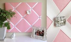This is the cutest homeade push pin board! Super cute for my dorn room!