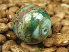 Into the Fire Lampwork Art Beads ~Marbre Bleu~ Artist handmade glass focal bead