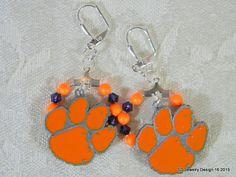 College Football Dangle Earrings-Clemson by SDJewelryDesign16