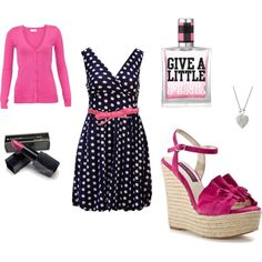 """""""Pink and Navy :)"""" created by #stacy-lizotte, #polyvore #fashion #style Vero Moda Mojo Moxy #1928 Miss Selfridge Victoria's Secret"""