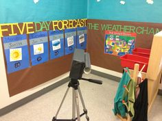 "Chapter 7. pg. 188-190 Dramatic Play environment. I think this would be neat for children to experience when learning about Weather. They get to act as a weather reporter and determine the weather for that week!! This is something students see almost every day or on a regular basis at home so its a neat idea to incorporate in a classroom ""Dramatic Play"" scene."