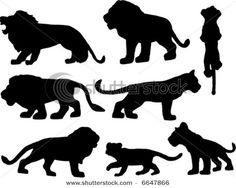 multiple lion silhouettes