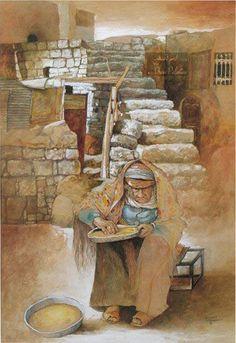 My grandmother by Palestinian artist Suleiman Mansour Artist Painting, Painting & Drawing, Palestine Art, Turkish Art, Arabic Art, Islamic Art, Oriental, Love Art, Creative Art