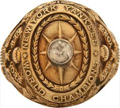 "Babe Ruth's 1927 New York Yankees World Series Ring In 14K gold with the original diamond (slightly chipped) the name ""G.H. Ruth"" (for George Herman Ruth) is engraved inside the ring. The engraving perfectly matches the few other original player rings from this storied team that is universally considered to be the greatest of all. It is stamped ""14k"" on the inside band. Baseball's true Holy Grail."