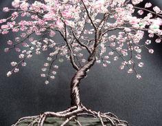 Cherry Blossom Beaded Bonsai Wire Tree Sculpture by CassandraZ