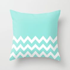Chevron+Colorblock+Tiffany+Blue+Throw+Pillow+by+Beautiful+Homes+-+$20.00