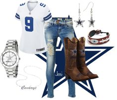"""""""Dallas Cowboy Fan"""" by themills on Polyvore -  I'd wear everything but the boots, but only because it's my honey's team."""