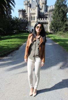 I'd put a white shirt under my sage pullover and put the whole thing over dark wash jeans. Love the castle.