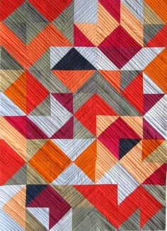 Mary Keasler - Triangle series Like the machine quilting on this - very complimentary for HST Scrappy Quilts, Mini Quilts, Quilting Projects, Quilting Designs, Quilt Modernen, Geometric Quilt, Half Square Triangle Quilts, Modern Quilt Patterns, Art Textile