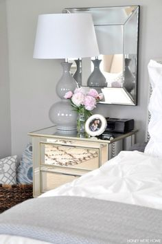 Master Bedroom Mirror neutral master bedroom, full size leaning mirror w/wicker basket